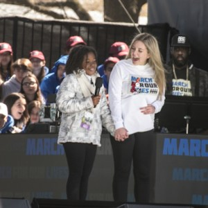 Yolanda Renee King, the 9-year-old granddaughter of Dr. Martin Luther King Jr. and Coretta Scott King, shares her dream of a gun-free world at the March for Our Lives protest in D.C on March 24. (Shevry Lassiter/The Washington Informer)