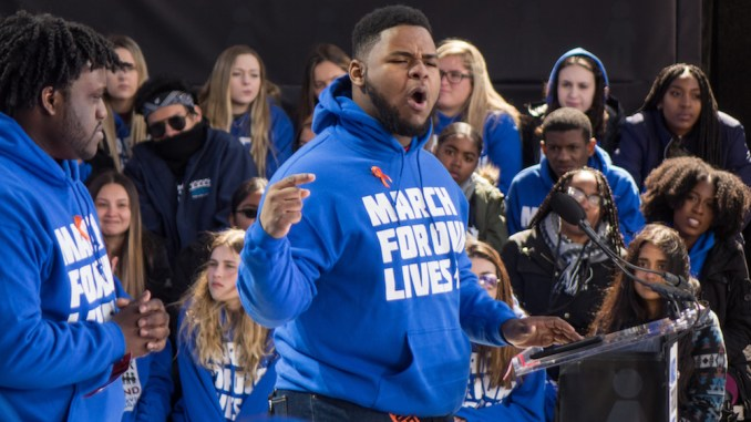 D'Angelo McCade, a high school student from Chicago, delivers a passionate speech March 24 at the March for Our Lives rally in D.C. He and other teenagers demanded lawmakers approve stronger gun legislation. (Maurice Bland)