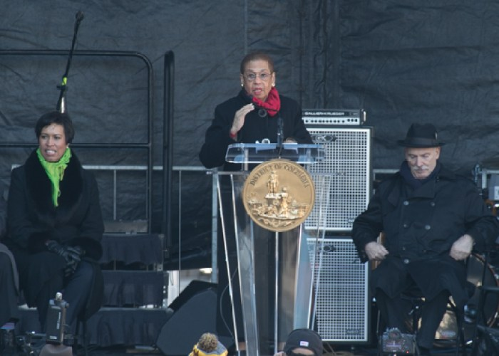 Congresswoman Eleanor Holmes Norton speaks during the Marion Barry Jr. statue unveiling program held on Pennsylvania Avenue in front of the John Wilson District Building in Northwest on Saturday, March 3. (Shevry Lassiter/The Washington Informer)