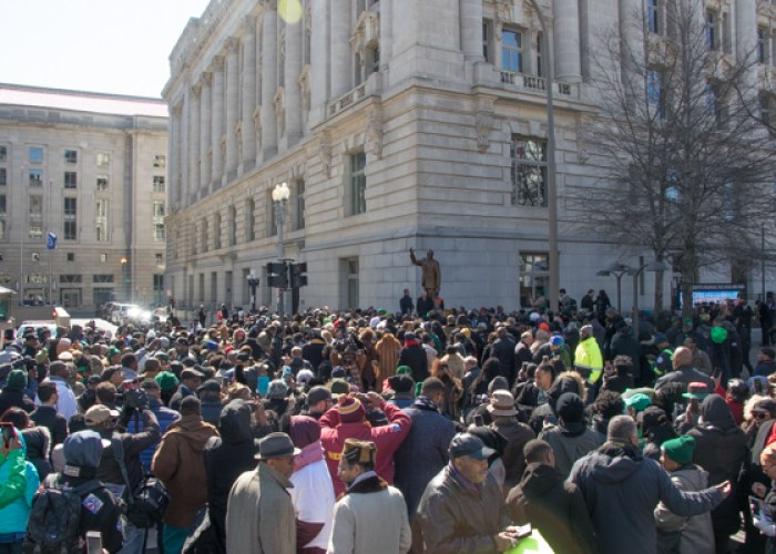 The corner of 13 1/2 and Pennsylvania Avenue at the John Wilson District Building is the site of the Marion Barry Jr. statue unveiled on Saturday, March 3. (Shevry Lassiter-The Washington Informer)
