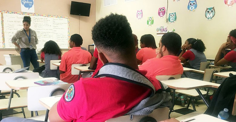 A teacher instructs students at Superior Vocational High School in Loíza, Puerto Rico. (Tatyana Hopkins/NNPA)