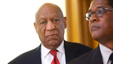 "Actor and comedian Bill Cosby reacts while being notified a verdict was in in his sexual assault retrial, Thursday, April, 26, 2018, at the Montgomery County Courthouse in Norristown, Pa. A jury convicted the ""Cosby Show"" star of three counts of aggravated indecent assault on Thursday. The guilty verdict came less than a year after another jury deadlocked on the charges. (Mark Makela/Pool Photo via AP)"