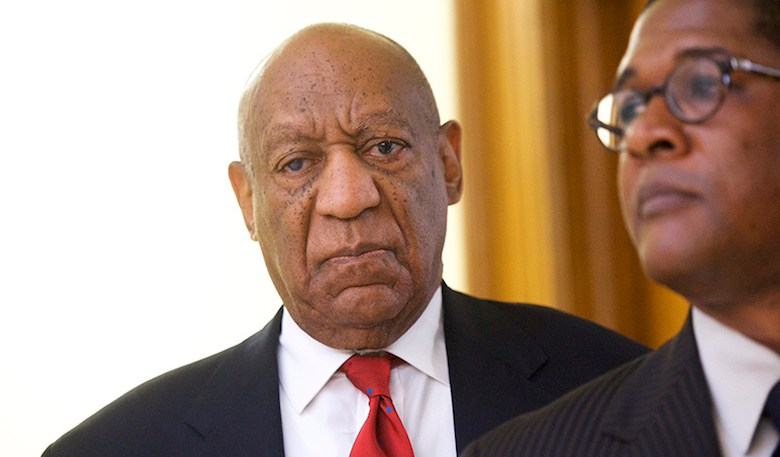 """Actor and comedian Bill Cosby reacts while being notified a verdict was in in his sexual assault retrial, Thursday, April, 26, 2018, at the Montgomery County Courthouse in Norristown, Pa. A jury convicted the """"Cosby Show"""" star of three counts of aggravated indecent assault on Thursday. The guilty verdict came less than a year after another jury deadlocked on the charges. (Mark Makela/Pool Photo via AP)"""