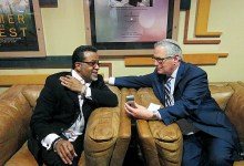 "Bishop Carlton Pearson (left) and Rabbi Malone, executive director of the Interfaith Alliance, attend a screening of ""Come Sunday,"" a movie based on the life of Pearson, in Washington, D.C. (Courtesy photo)"