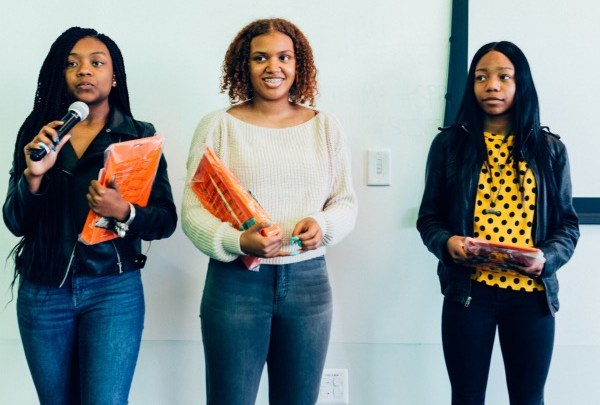 """Banneker High School students Bria Snell, India Skinner and Mikayla Sharrieff of """"S3 Trio,"""" finalists in the national NASA competition (Courtesy of In3)"""