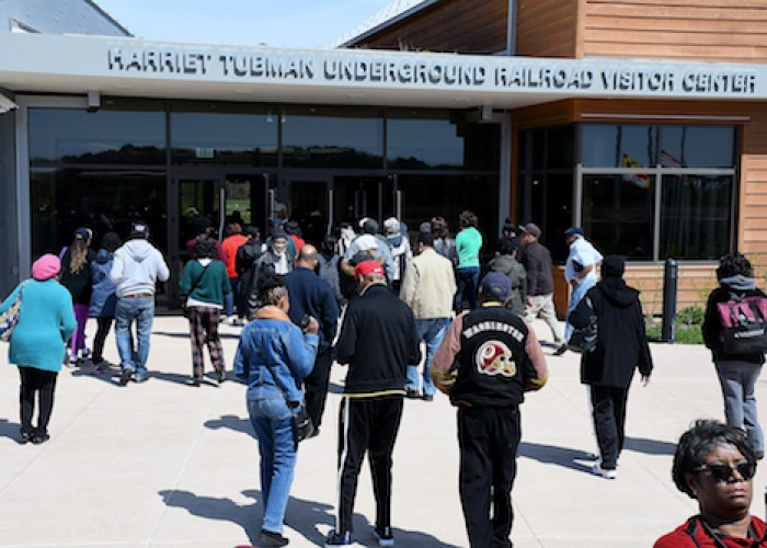 AAHT visitors enter the Harriett Tubman Underground Railroad Visitors Center located about 100 miles from Washington, D.C., in Dorchester County near the Chesapeake Bay. (Roy Lewis/The Washington Informer)