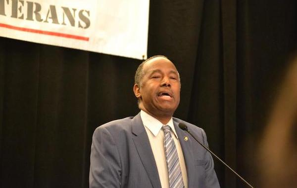 Ben Carson, secretary of the U.S. Department of Housing and Urban Development, speaks during the National Coalition for Homeless Veterans' annual conference at the Grand Hyatt Hotel in northwest D.C. on May 30. (Brigette White/The Washington Informer)