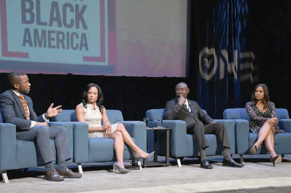 """TV One and the National Urban League joined forces to host a televised town hall taping on May 8 that will air July 29, on """"The State of Black America."""" Panelists who weighed in on health care and voting/civic engagement in the second of two discussions include (from left) Shermichael Singleton, political strategist; Linda Goler Blount, president/CEO, Black Women's Health Initiative; Benjamin Crump, civil rights attorney; and Angela Yee, radio personality. (Roy Lewis/The Washington Informer)"""