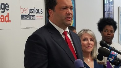 Maryland Democratic gubernatorial nominee Ben Jealous speaks during a press conference in Baltimore on June 27, one day after securing the nomination. To his left is running mate Susan Turnbull. (William J. Ford/The Washington Informer)