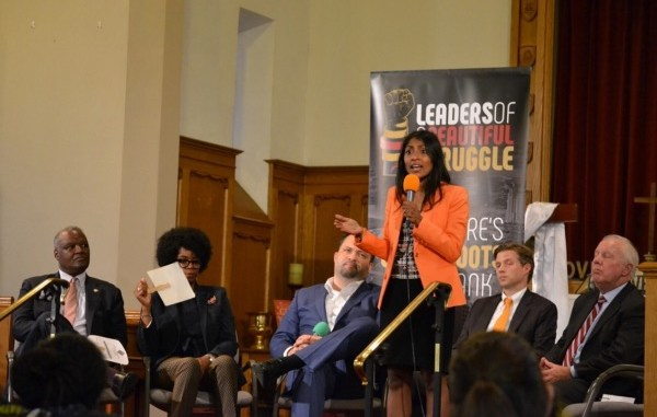 Krish Vignarajah, Maryland gubernatorial hopeful, speaks during a candidates' debate at New Waverly United Methodist Church in Baltimore on June 2. (Brigette White/The Washington Informer)