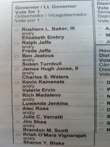 A sample ballot for the Maryland gubernatorial Democratic primary distributed to voters in Prince George's County shows the late Baltimore County Executive Kevin Kamenetz and running mate Valerie Ervin as candidates. Ervin has sought to replace Kamenetz on the ballots, but a judge ruled that posted notices informing voters of her candidacy will suffice. (William J. Ford/The Washington Informer)