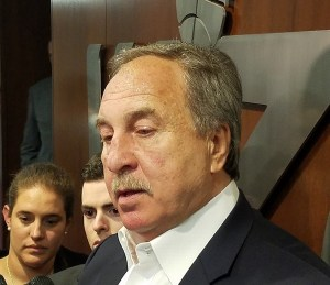 Washington Wizards general manager Ernie Grunfeld speaks with reporters at Capital One Arena in D.C. on June 21 after the team made Oregon swingman Troy Brown Jr. the 15th selection in the 2018 NBA draft. (William J. Ford/The Washington Informer)