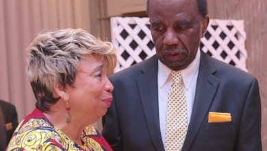 Ulysses Currie and his wife Shirley A. Gravely-Currie at his retirement tribute ceremony in Greenbelt, Maryland, on June 16. (Demetrious Kinney/The Washington Informer)