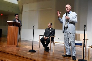 Phil Mendelson (right) and Ed Lazere (seated), candidates for D.C. Council chair, participate in a candidates' forum hosted by the ACLU and moderated by Denise Rolark Barnes (left), publisher of The Washington Informer, at the First Church of Christ in northwest D.C. on May 30. (Roy Lewis/The Washington Informer)