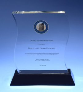 Pepco received the Corporate Citizen Award from the African American Civil War Museum. (Courtesy of AACWM)