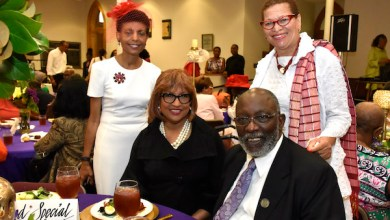 Dr. Elsie Scott, Bishop Vashti Murphy McKenzie, Stan McKenzie and Julianne Malveaux celebrate the 180th anniversary of Metropolitan AME Church in northwest D.C. on July 15. (Robert R. Roberts)