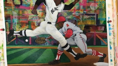 "A piece from artist Larry Saxton's ""America's Pastime"" collection"