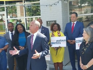 Rep. Anthony Brown (D-Maryland) formally endorses former NAACP President Ben Jealous in the Maryland gubernatorial race outside Vigilante Coffee in Hyattsville on Aug. 14. (William J. Ford/The Washington Informer)