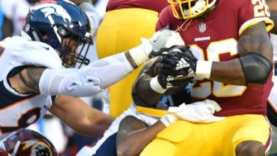 Washington Redskins running back Adrian Peterson makes his debut with the team during a 29-17 preseason loss to the Denver Broncos at FedEx Field in Landover, Md., on Aug. 24. (John E. De Freitas/The Washington Informer)