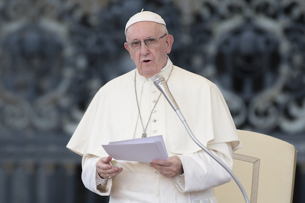 Pope Francis attends the International Pilgrimage of altar boys and girls of the Coetus Internationalis Ministrantium in Saint Peter's Square at the Vatican on July 31, 2018. (Photo by Massimo Valicchia/NurPhoto via Getty Images)