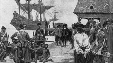 """This drawing, """"Landing Negroes at Jamestown from Dutch man-of-war, 1619,"""" chronicles the first 20 African slaves arriving in Jameston, Virginia. (Library of Congress)"""