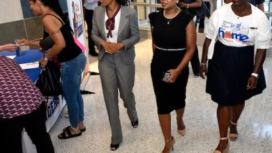Tulip Grove Elementary Principal Jaime Whitfield-Coffen (right) leads a tour of the renovated school with Prince George's County State's Attorney Angela Alsobrooks (left) and Prince George's public schools interim CEO Monica Goldson. (Robert Roberts/The Washington Informer)