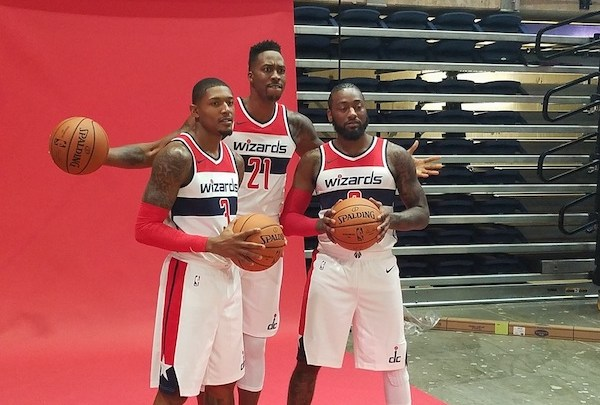Newly acquired Washington Wizards center Dwight Howard (center) poses with teammates John Wall and Bradley Beal during the team's media day at the DC Entertainment and Sports Arena on Sept. 24. (William J. Ford/The Washington Informer)