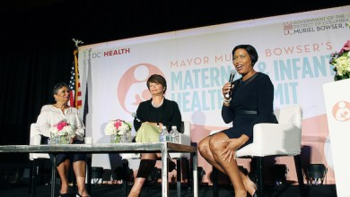 D.C. Mayor Muriel Bowser (right) hosts the city's first Maternal and Infant Health Summit at the Walter E. Washington Convention Center on Sept. 12. Cathy Hughes (left), Urban One, Inc. founder and chair, and Valerie B. Jarrett, former senior adviser for the Obama administration, participate in a conversation on perinatal health and racial disparities in birth outcomes. (Brigette Squire/The Washington Informer)