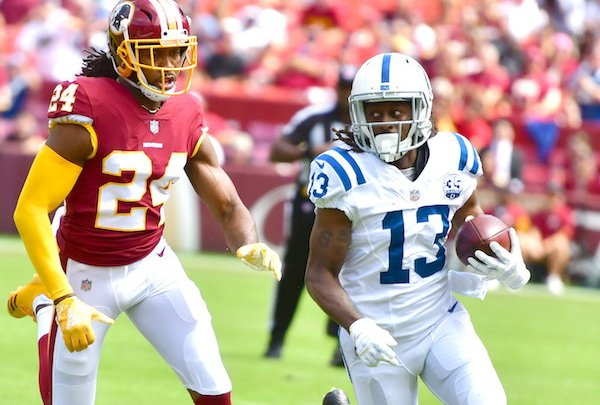 Indianapolis Colts wide receiver T.Y. Hilton outruns Washington Redskins cornerback Josh Norman during the Colts' 21-9 win at FedEx Field in Landover, Md., on Sept. 19. (John E. De Freitas/The Washington Informer)