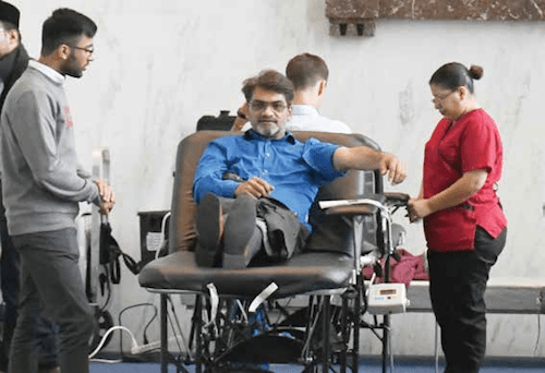 The eighth annual Ahmadiyya Muslim Community USA and American Red Cross blood drive is held in the Rayburn Office Building in D.C. on Sept. 11. (Roy Lewis/The Washington Informer)