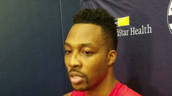 Washington Wizards center Dwight Howard speaks with reporters after his first practice Oct. 15 at the D.C. Entertainment and Sports Arena. (William J. Ford/The Washington Informer)