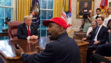 President Donald Trump meets with rapper Kanye West in the Oval Office of the White House in Washington D.C. on Oct. 11, 2018. (Photo by Calla Kessler/The Washington Post via Getty Images)