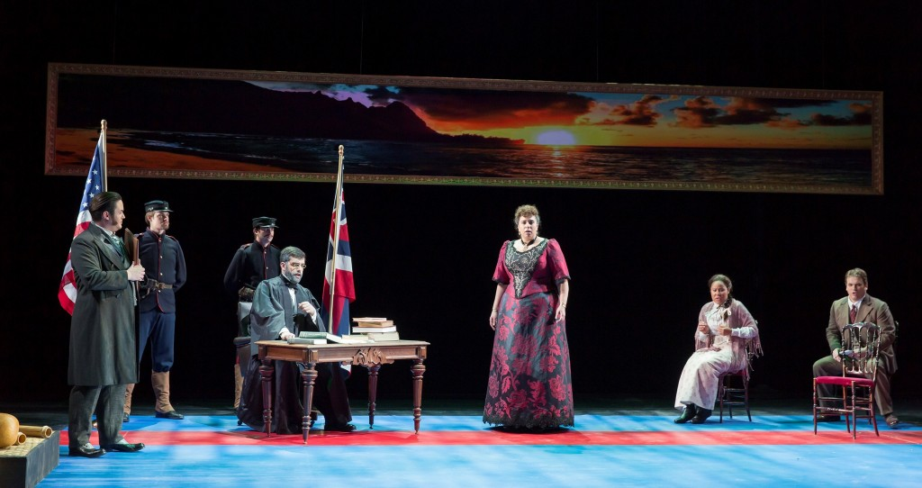 An island scene forms the backdrop for the Better Gods in a premiere of the opera. Photo by Scott Suchman for WNO