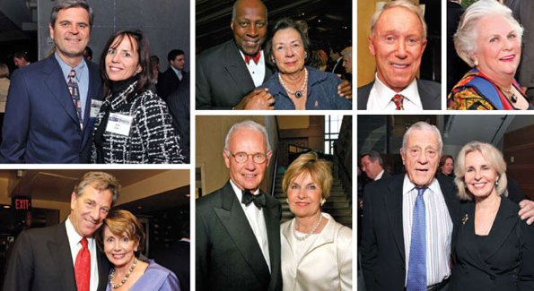 Top from left to right: Steven and Jean Case, Vernon and Ann Jordan, James Kimsey, Jacqueline Mars. Bottom from left to right: Paul and Nancy Pelosi, Roger and Victoria Sant, and Ben Bradlee and Sally Quinn.