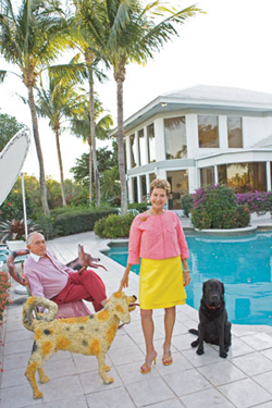 Ann and Donald Brown by the swimming pool of their residence in Palm Beach Garden's fashionable Frenchman's Creek.