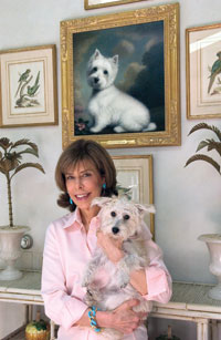 Jane Stanton Hitchcock at home with her beloved Chloe. (Photo by James R. Brantley)