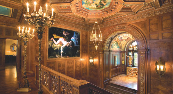 Looking out over the magnificent sweeping double staircase from the second floor. 16th Century paintings by Agnolo Bronzino, an Italian Mannerist Painter and contemporary of Michaelangelo.  In the musician's alcove, elegant stained-glass windows, a carved ceiling replete with 18th century gold leaf allegorical paintings and two immaculately restored archangels perch high on a gold leaf chest, welcoming visitors with an extended arm and the promise of warm Turkish hospitality.