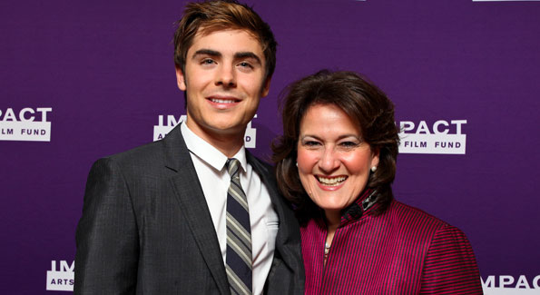 Zac Efron and Anita McBride. (Photo by Tony Powell courtesy of IMPACT ARTS and FILM FUND)