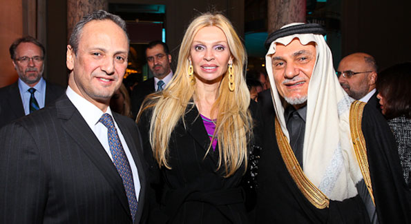 "Kuwait Amb. Salem Al-Sabah, Rima Al-Sabah, and Prince Turki Al-Faisal. ""Journey to Mecca"" IMAX Gala Screening. Museum of Natural History. (photo by Tony Powell)"