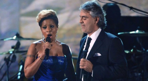 """Bridge Over Troubled Water"" sung by Mary J Blige & Andrea Bocelli"