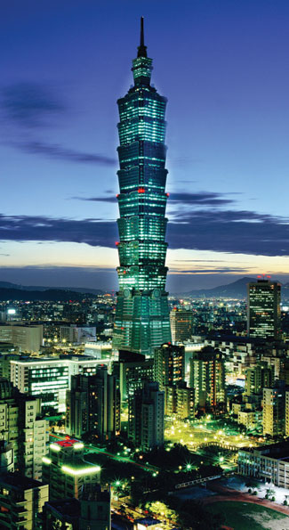 Taipei 101 lights up the night sky. It's the world's second tallest completed skyscraper. (Photo Anchyi Wei)