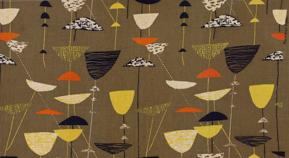 Calyx, (detail), 1951. Lucienne Day. Manufactured by Heal Fabrics. Jill A. Wiltse and H. Kirk Brown III Collection of British Textiles.