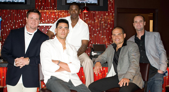 "The new Nationals: Matt Capps, Ian Desmond, Nyjer Morgan, Ivan ""Pudge"" Rodriguez, and Adam Kennedy. (Photo by Joseph Allen)"
