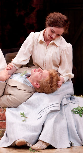 Tony Roach as Frank Gardner and Amanda Quaid as Vivie Warren in the Shakespeare Theatre Company's production of Mrs. Warren's Profession, directed by Keith Baxter. Photo by Scott Suchman.