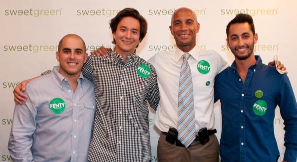 Nicolas Jammet, Nathaniel Ru, Mayor Adrian Fenty, and Jonathan Neman inside Capitol Hill's Sweetgreen