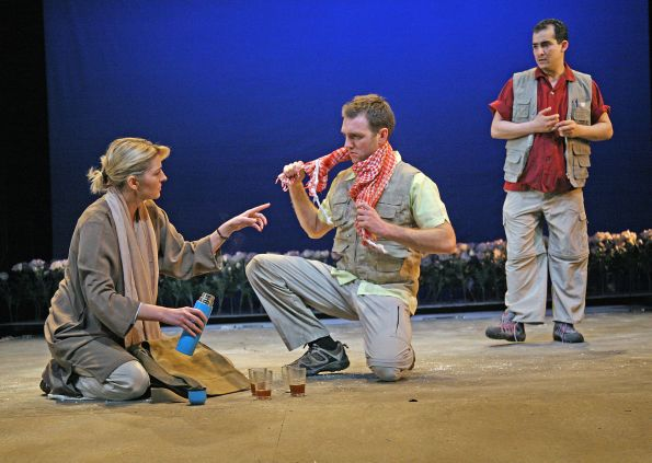 Jemma Redgrave, Tom McKay and Nabil Elouahabi in Tricycle Theater's production of The Great Game: Afghanistan (On the Side of the Angels – by Stephen Jeffreys). Photo by John Haynes.