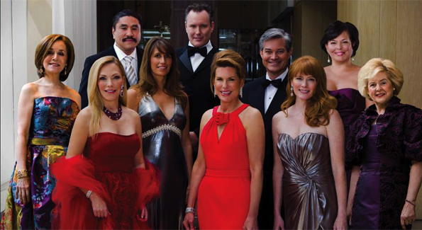 "From left: Michele Berman, co-chairwoman of the Executive Committee, Arena Stage's Opening Gala Celebration; Susan E. Lehrman, co-chairwoman, Washington National Opera Ball; Robert G. Hisaoka, chairman, Joan Hisaoka ""Make a Difference"" Gala; Rachel Sullivan, co-chairwoman, Sibley Hospital's ""Celebration of Hope & Progress"" Gala; Barry Dixon, co-chairman, CharityWorks Dream Ball; Nancy Brinker, founder, Susan G. Komen Fight for the Cure; Mark Lowham, co-chairman, CharityWorks Dream Ball; Molly A. Meegan, co-chairwoman, Harman Center for the Arts Gala; Debra Lee, co-chairwoman, The Alvin Ailey American Dance Theater Gala; and Beth Newburger Schwartz, co-chairwoman of the Executive Committee, Arena Stage's Opening Gala Celebration"