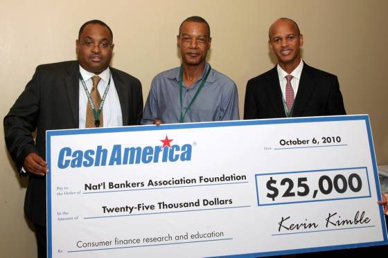 Kevin Kimble, VP for Counsel, Federal Affairs for Cash America Intl., Victor Cook, Executive Director of NBA Foundation and Robert Cooper, Former Chairman, NBA and Senior Counsel of One United Bank Boston