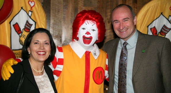 Dennis and Nina Prescott strike a pose with Ronald McDonald. Photo Courtesy of Ronald McDonald House.
