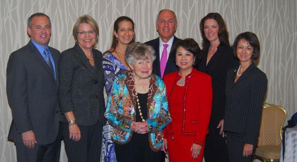 Back L to R: Co-chair Gregg Kelley, Margaret O'Bryon (Consumer Health Foundation), Frankie Blackburn, Martin Klepper (Skadden, Arps, Slate, Meagher & Flom, LLP), Pam King Sams, co-chair Lisa Harter. Front row L to R: Dr. Jaylee Montague Mead, Rosemary Tran Lauer. Photo courtesy Jill James